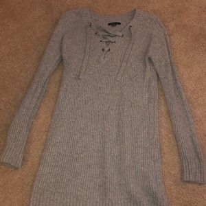 knitted grey sweater dress